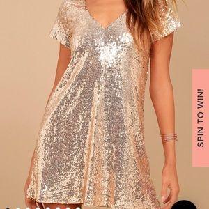 Lulu's Gold Sequin Shift Dress Size L